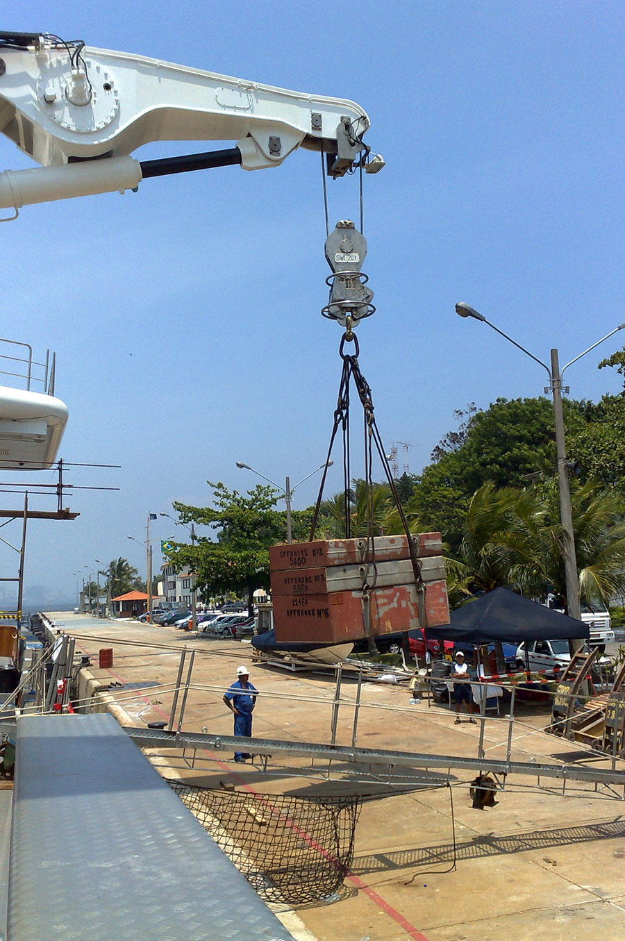 Load-testing-20T-davits-after-major-refit-130M-Yacht