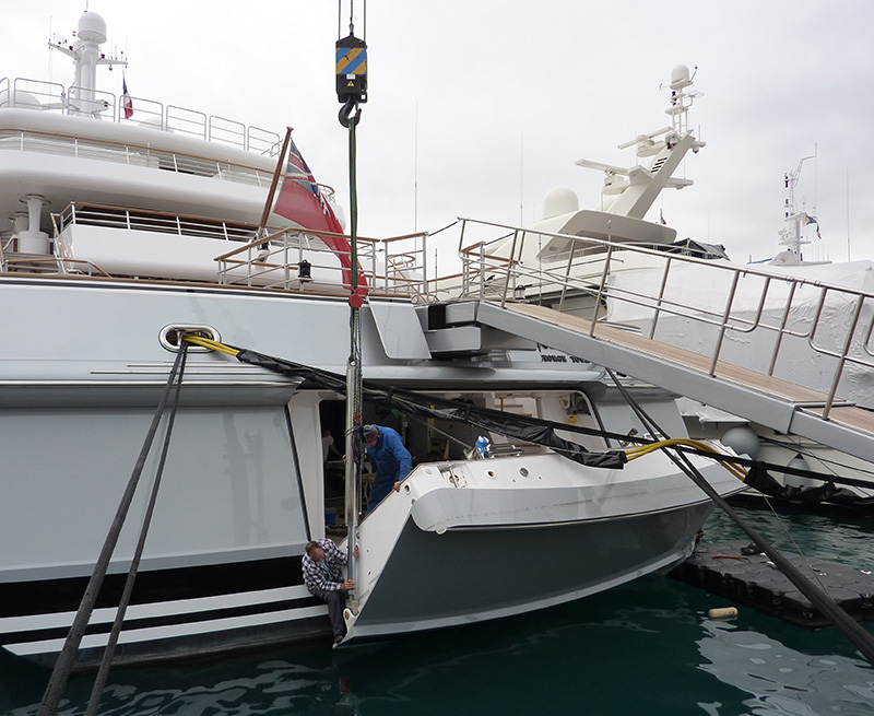 Removal-and-redesign-of-stern-door-75M-Yacht